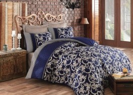 Lenjerie de pat premium satin de lux, Cotton Box, Pera - Dark Blue