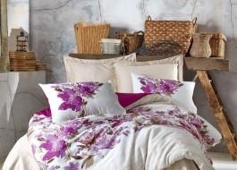 Lenjerie de pat premium satin de lux, Cotton Box, Rossy - Damson