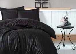Lenjerie de pat premium satin de lux, Cotton Box, Stripe - Black