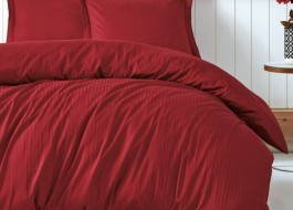 Lenjerie de pat premium satin de lux, Cotton Box, Stripe - Claret Red