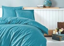 Lenjerie de pat premium satin de lux, Cotton Box, Stripe - Turquoise
