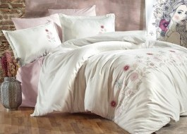Lenjerie de pat premium satin de lux cu broderie, Clasy, Mavera