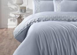 Lenjerie de pat premium satin de lux cu broderie, Clasy, Mona V3
