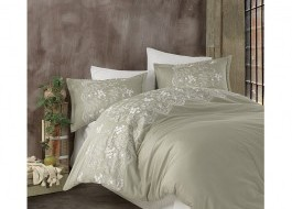 Lenjerie de pat premium satin de lux cu broderie, Clasy, Natura Verde V2