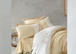 Lenjerie de pat premium satin de lux cu broderie, Cotton Box, Bruno - Beige
