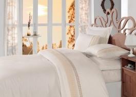Lenjerie de pat premium satin de lux cu broderie, Cotton Box, Gold - Ecru, Cutie Deteriorata - Produs intact