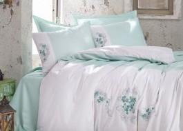 Lenjerie de pat premium satin de lux cu broderie, Cotton Box, Lena - Mint