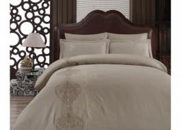 Lenjerie de pat premium satin de lux cu broderie, Cotton Box, Memory - Beige