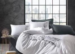Lenjerie de pat premium satin de lux cu broderie, Cotton Box, Nicci - Anthracite