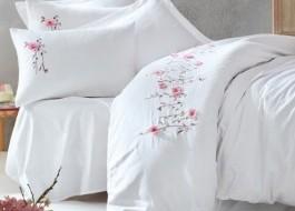 Lenjerie de pat premium satin de lux cu broderie, Cotton Box, Perla - White