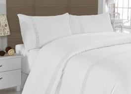 Lenjerie de pat premium satin de lux cu dantela, Altinbasak, Lace - Alb