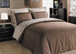 Lenjerie de pat premium satin de lux cu nasturi, Cotton Box, Brown