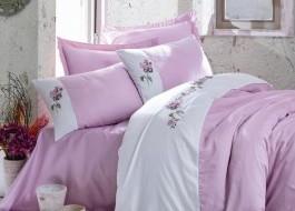 Lenjerie de pat premium satin de lux cu broderie, Cotton Box, Este - Lilac