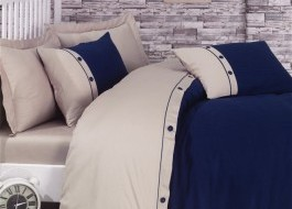 Lenjerie de pat premium satin de lux cu nasturi, Cotton Box, Fashion Stripe - Dark Blue