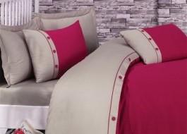 Lenjerie de pat premium satin de lux cu nasturi, Cotton Box, Fashion Stripe - Fuchsia