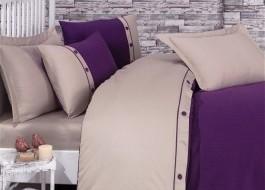 Lenjerie de pat premium satin de lux cu nasturi, Cotton Box, Fashion Stripe - Purple