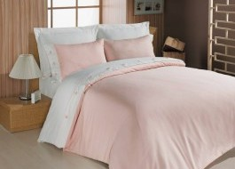 Lenjerie de pat premium satin de lux cu nasturi, Cotton Box, Pink