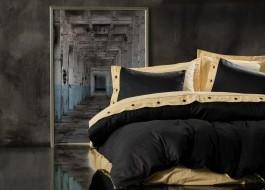 Lenjerie de pat premium satin de lux cu nasturi, Cotton Box, Yellow Black
