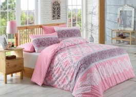 Lenjerie de pat ranforce, Bahar Home, Irene - Dusty Rose