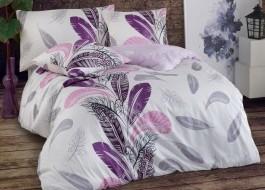 Lenjerie de pat satin de lux, 6 piese, Bahar Home, Plume Lilac