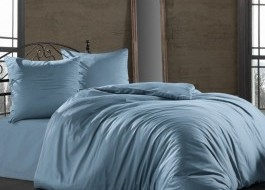 Lenjerie de pat satin de lux cu 2 cearceafuri pilota, 7 piese, Class Home Collection, Aqua