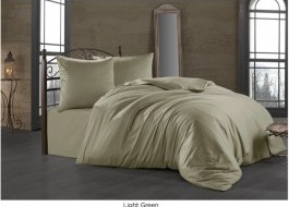 Lenjerie de pat satin de lux cu 2 cearceafuri pilota, 7 piese, Class Home Collection, Light Green