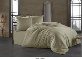 Lenjerie de pat satin de lux cu 2 cearceafuri pilota, 7 piese, Bahar Tekstil, Light Green