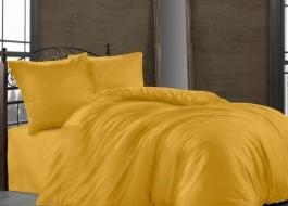 Lenjerie de pat satin de lux cu 2 cearceafuri pilota, 7 piese, Class Home Collection, Ocru