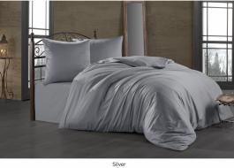 Lenjerie de pat satin de lux cu 2 cearceafuri pilota, 7 piese, Bahar Tekstil, Silver