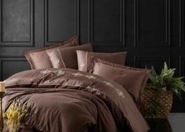 Lenjerie de pat satin de lux premium cu broderie, 6 piese, Cotton Box, King Brown