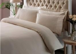 Lenjerie de pat TAC premium satin de lux, Stripe Crem