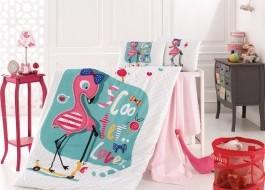 Lenjerie de pătut pentru bebeluşi din bumbac 100%, 4 piese, Nazenin Home, Flamingo