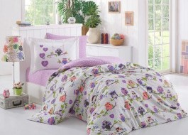 Lenjerie pat 1 persoană bumbac 100% poplin, Hobby Home, Candy - Lilac