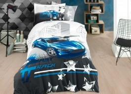 Lenjerie pat 1 persoană bumbac 100% poplin, Hobby Home, Fast Track - Blue