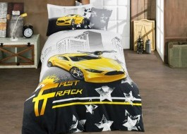 Lenjerie pat 1 persoană bumbac 100% poplin, Hobby Home, Fast Track - Yellow
