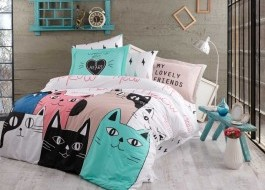 Lenjerie pat 1 persoană bumbac 100% poplin, Hobby Home, Love Cats - Pink