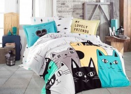 Lenjerie pat 1 persoană bumbac 100% poplin, Hobby Home, Love Cats - Yellow