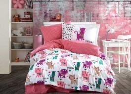 Lenjerie pat 1 persoană bumbac 100% poplin, Hobby Home, Miouu - Pink