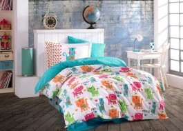 Lenjerie pat 1 persoană bumbac 100% poplin, Hobby Home, Miouu - Turquoise