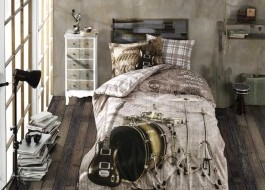 Lenjerie pat 1 persoană bumbac 100% poplin, Hobby Home, Rock Music - Brown