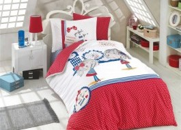 Lenjerie pat 1 persoană bumbac 100% poplin, Hobby Home, Smilie - Red
