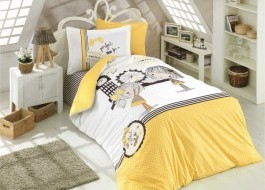 Lenjerie pat 1 persoană bumbac 100% poplin, Hobby Home, Smilie - Yellow