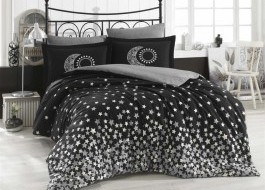 Lenjerie pat 1 persoană bumbac 100% poplin, Hobby Home, Star's - Black