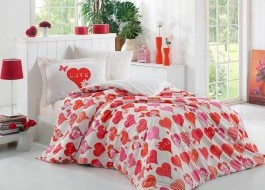 Lenjerie pat 1 persoană bumbac 100% poplin, Hobby Home, Vera - Red
