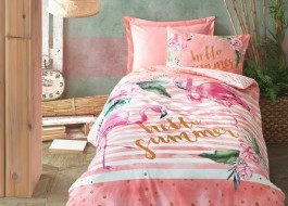 Lenjerie pat 1 persoana bumbac 100% ranforce, Cotton Box, Hello Summer - Pink