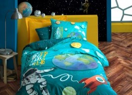 Lenjerie pat 1 persoana bumbac 100% ranforce, Cotton Box, Little Astronaut - Turquoise
