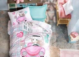 Lenjerie pat 1 persoana bumbac 100 ranforce, Cotton Box, Paris Love - Pink