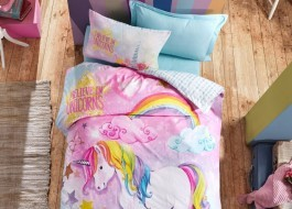Lenjerie pat 1 persoana bumbac 100% ranforce, Cotton Box, Unicorn Dream - Mint