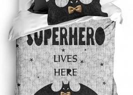 Lenjerie pat 1 persoana, bumbac 100% ranforce, Super Hero