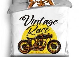 Lenjerie pat 1 persoana, bumbac 100% ranforce, Vintage